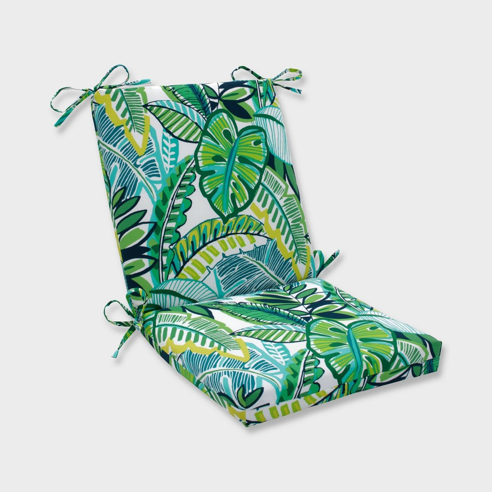 Aruba Jungle Squared Corners Outdoor Chair Cushion Blue - Pillow Perfect