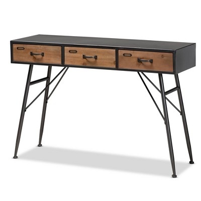 3 Drawer Ariana Wood Metal Console Table Black/Walnut Brown - Baxton Studio
