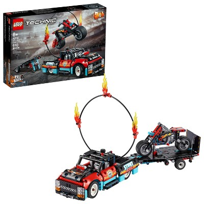 LEGO Technic Stunt Show Truck and Bike with Trailer and Fire Ring 42106