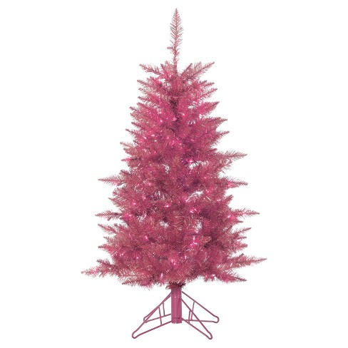 4ft Pre Lit Artificial Christmas Tree Slim Pink Tuscany Tinsel Clear Lights Target