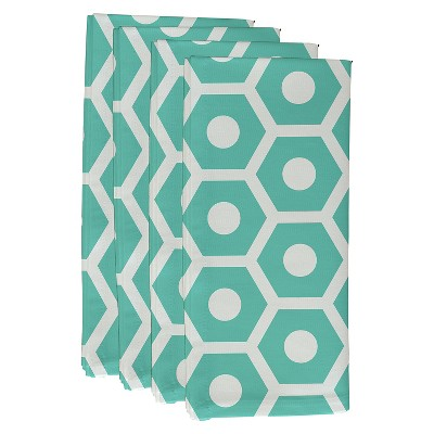 Aqua Geometric Throw Napkin Set (19 X19 )- E By Design