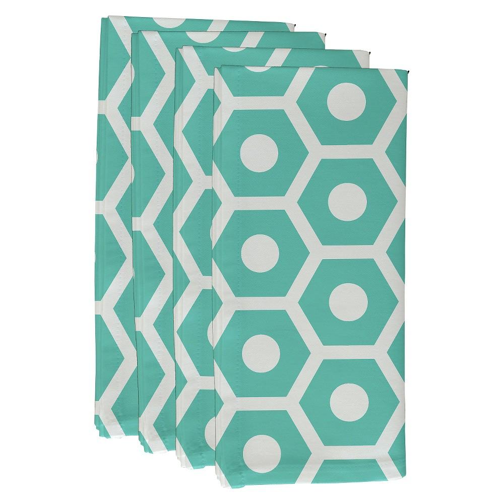 """Image of """"Aqua Geometric Throw Napkin Set (19""""""""X19"""""""") - E By Design, Blue"""""""