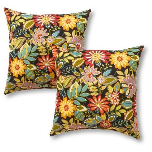Set of 2 Jungle Floral Outdoor Square Throw Pillows - Kensington Garden - image 1 of 3