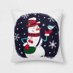 Snowman Print Square Throw Pillow Blue - Wondershop™