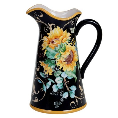 96oz Earthenware Sunflower Fields Beverage Pitcher - Certified International