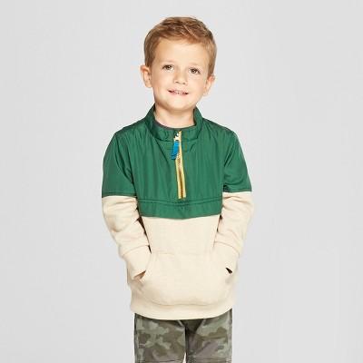 Toddler Boys' Pullover Anorak - Cat & Jack™ Tan/Green 2T