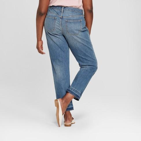3a7edf24c Women's Plus Size Released Hem Boyfriend Crop Jeans - Universal Thread™ Medium  Wash 14W : Target
