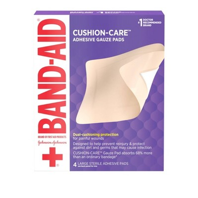 Band-Aid Brand First Aid Adhesive Gauze Pad - 4.5in x 5.5in - 4ct