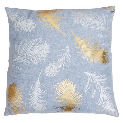 Décor Therapy 20 x20  Francesca Flynn Feather Foil Throw Pillow Blue/Gold