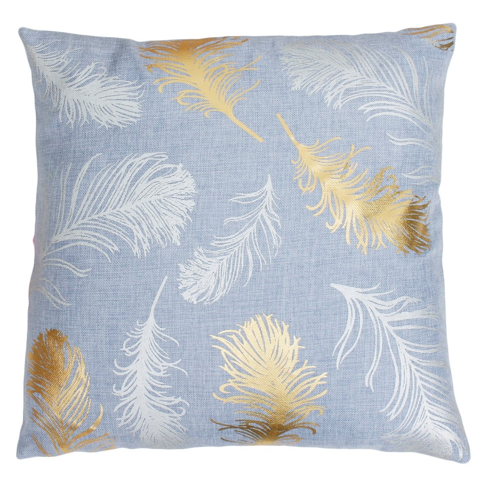 "Image of ""Décor Therapy 20""""x20"""" Francesca Flynn Feather Foil Throw Pillow Blue/Gold"""