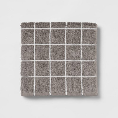 Everyday Grid Bath Towel Dark Gray - Room Essentials™