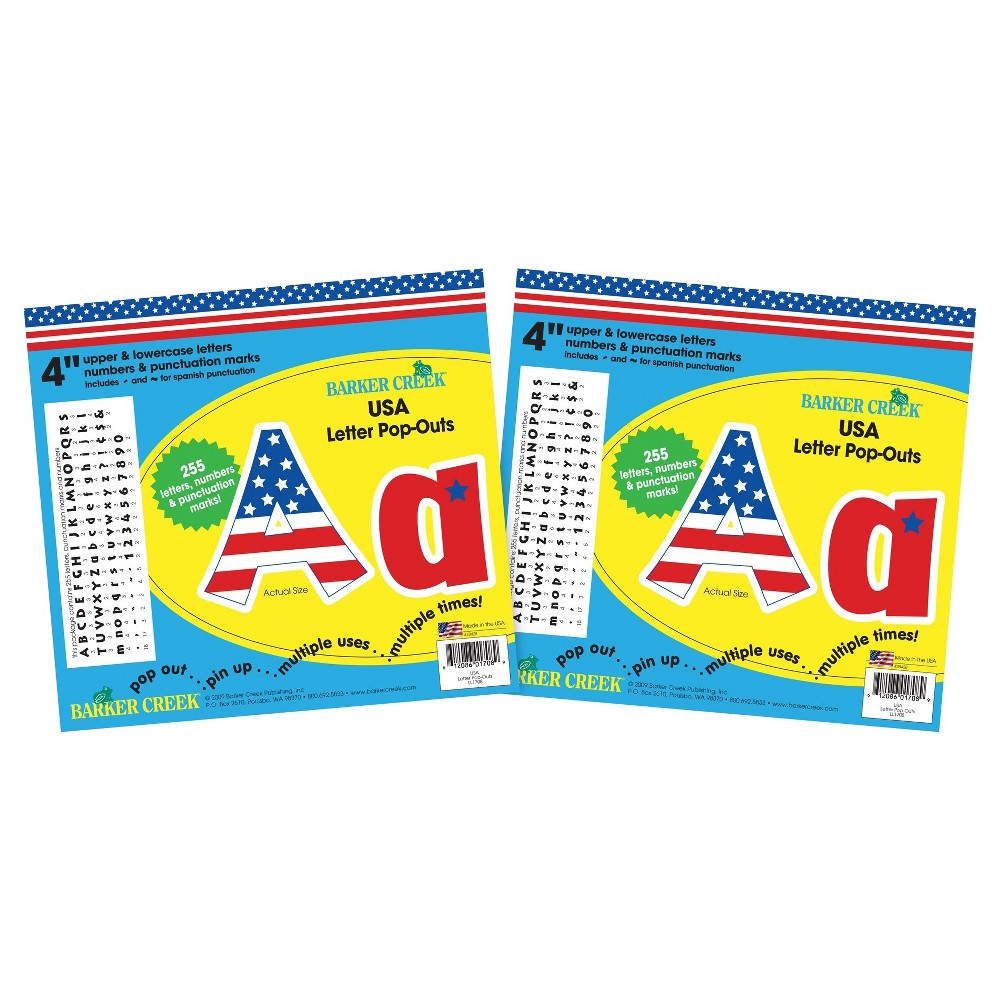Barker Creek 4 Letter Pop-Outs 2 pack - USA, Red