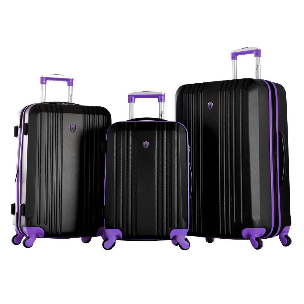 Image of Olympia USA Apache II 3pc Luggage Set - Black/Purple