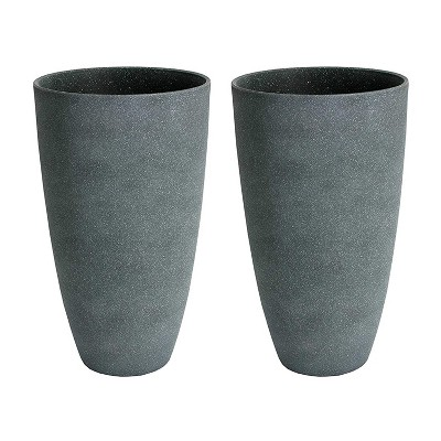 Algreen Acerra Weather Resistant Composite Tall Vase Round Planter Pot 20 x 12 x 12 Inches, Gray Stucco (2 Pack)