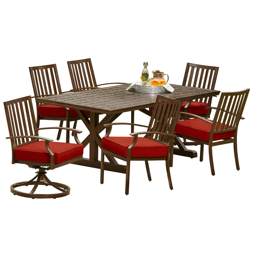 7pc Bridgeport Heights Dining Table Red - Royal Garden
