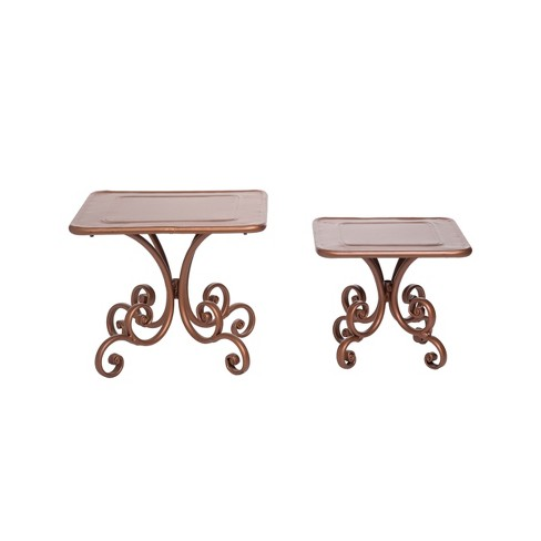 Set of 2 Copper Metal Scroll Decorative Riser Stands - Foreside Home & Garden - image 1 of 2