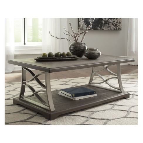 Baymore Rectangular Cocktail Table Taupe Signature Design By