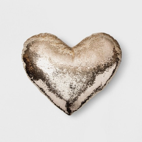 Sequin Oversize Heart Throw Pillow Gold - image 1 of 3