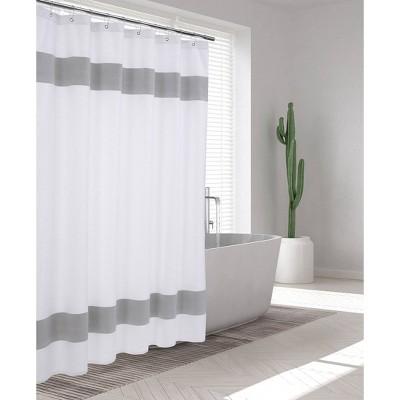 Unique Turkish Cotton Shower Curtain Silver - Enchante Home