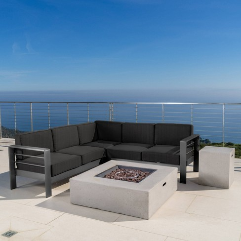 Cape Coral 5pc V-Shaped Sofa & Fire Table Set - Christopher Knight Home - image 1 of 7
