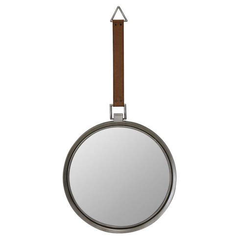 Suspended Round Mirror With Leather Strap Brown Silver Metal