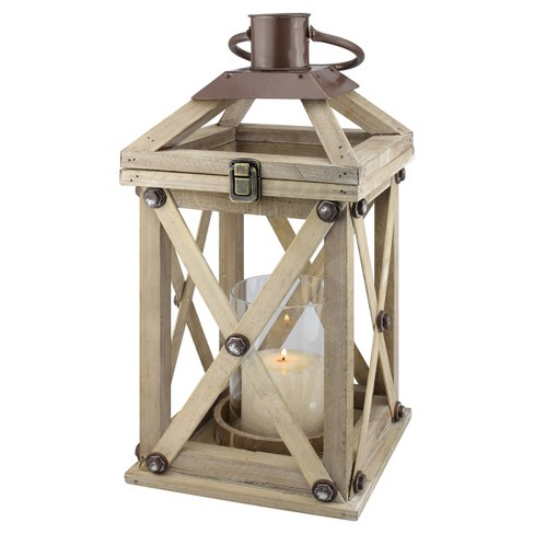 Stonebriar Distressed Wood and Metal Hurricane Candle Lantern - image 1 of 4