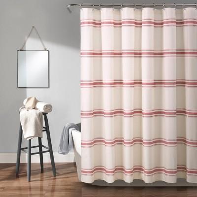 Farmhouse Stripe Shower Curtain Red - Lush Décor