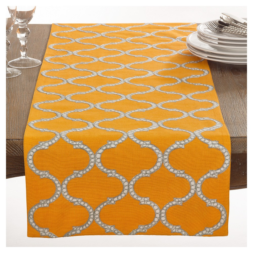 Yellow Dastan Stitched Lattice Design Table Runner 16 34 X72 34 Saro Lifestyle