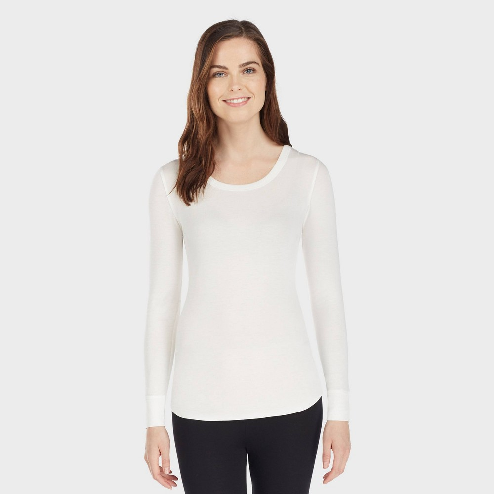 Image of Warm Essentials by Cuddl Duds Women's Smooth Stretch Thermal Scoop Neck - Ivory 2X, Size: 2XL