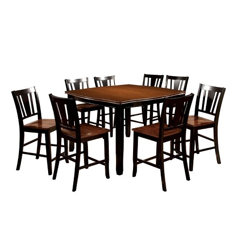 9pc Earlton Curved Edge Counter Dining Table Set Cherry Black Sun Pine