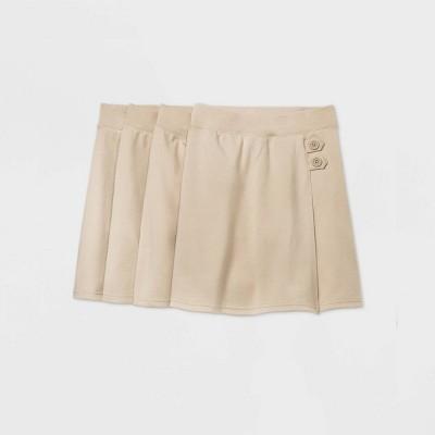 Girls' 4pk Stretch Uniform Knit Skorts - Cat & Jack™ Beige
