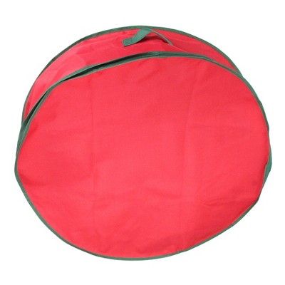 """Northlight 24"""" Red and Green Christmas Wreath Storage Bag"""