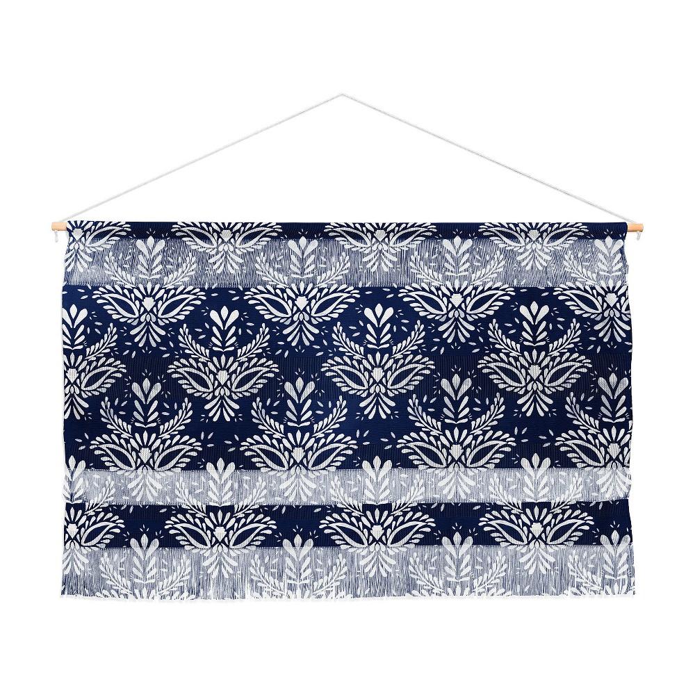 47x32 Marta Barragan Camarasa Pattern Indigo Wall Hanging Landscape Tapestries Black - Deny Designs