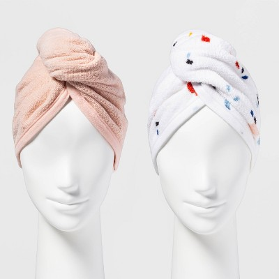 2pk Bath Hair Wrap Peach - Room Essentials™