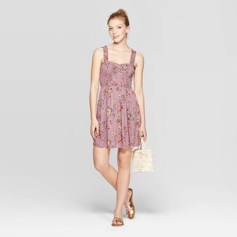 Women's Floral Print Sleeveless Strappy Smocked Dress - Xhilaration™ Lilac - image 1 of 2
