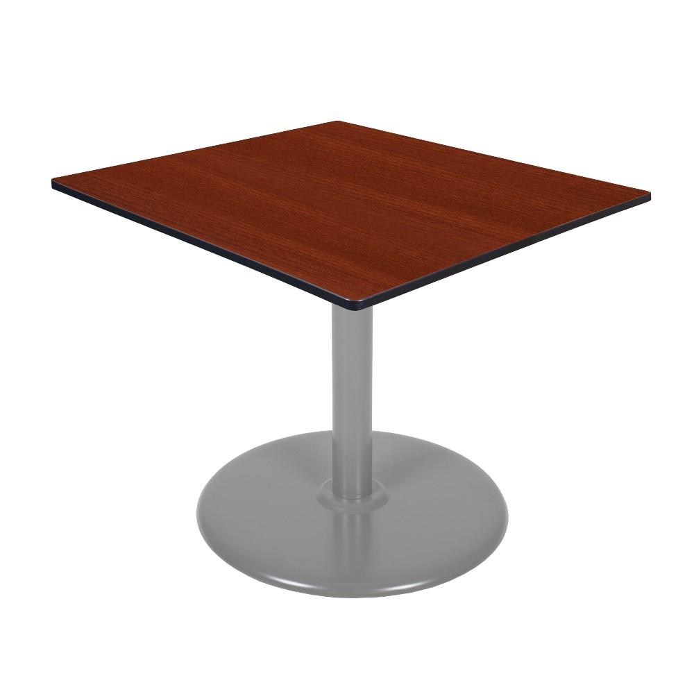 42 Via Square Platter Base Table Cherry/Gray (Red/Gray) - Regency