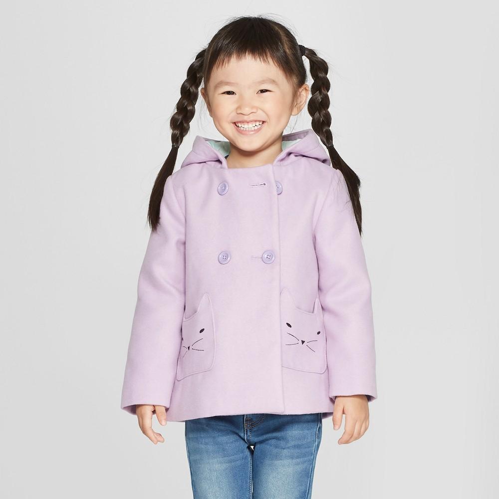 Toddler Girls' Faux Wool Cat Overcoat - Cat & Jack Purple 18M