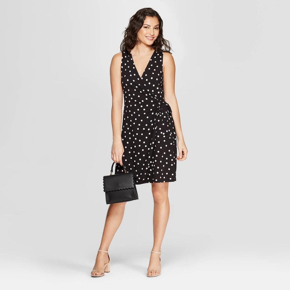 Women's Polka Dot Sleeveless V-Neck Wrap Dress - A New Day Black/White XS