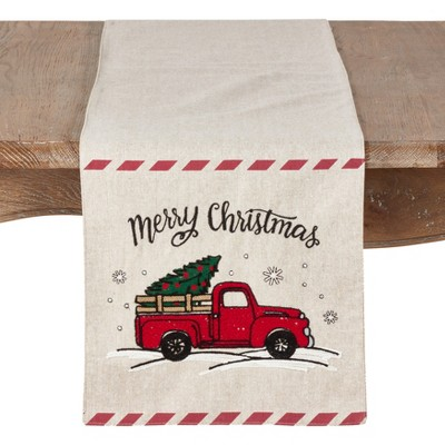 72 x13  Merry Christmas Red Truck Design Holiday Runner Natural - Saro Lifestyle