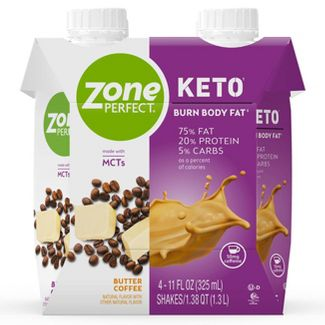 ZonePerfect Keto Nutrition Shake - Butter Coffee - 11 fl oz/4ct