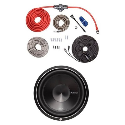 Rockford Fosgate 4 AWG Amplifier to Speaker Installation Kit and 10 Inch 1000W DVC Car Audio Subwoofer Package