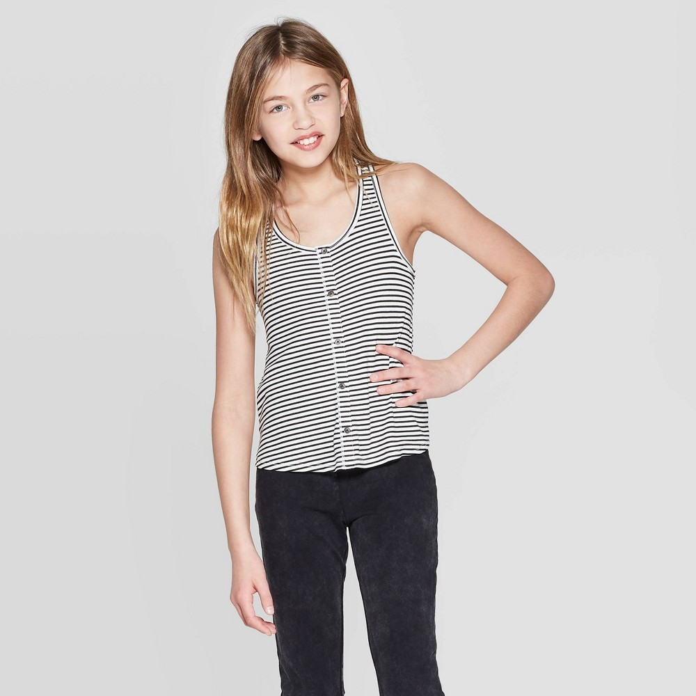 Girls' Button Front Swing Tank Top - art class Black/White Xxl