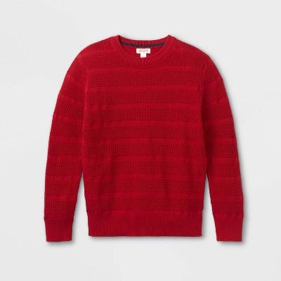 Boys' Textured Striped Crew Neck Sweater - Cat & Jack™
