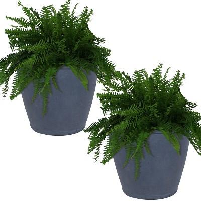 """Sunnydaze Anjelica Polyresin Indoor/Outdoor Unbreakable Double-Walled UV-Resistant Flower Pot Planter - 24"""" Diameter - 2-Pack - Slate"""