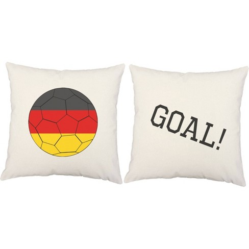 Set Of 2 Germany Flag Soccer Ball Throw Pillows 18x18 Inch Square White Indoor Outdoor Cushions Roomcraft Target