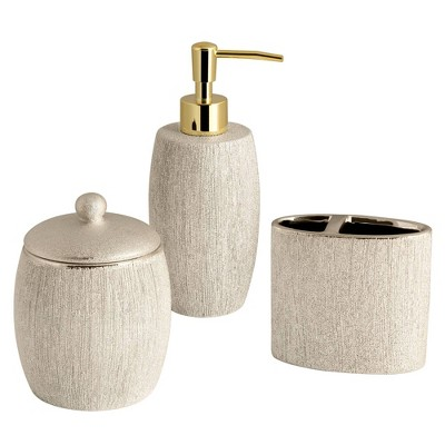 3pc Shimmer Lotion Pump/Toothbrush Holder/Cotton Ball Jar Set Gold - Allure Home Creations