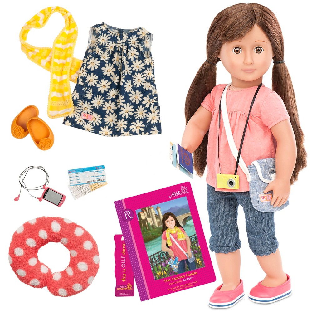 Our Generation 18 34 Posable Travel Doll With Storybook Reese