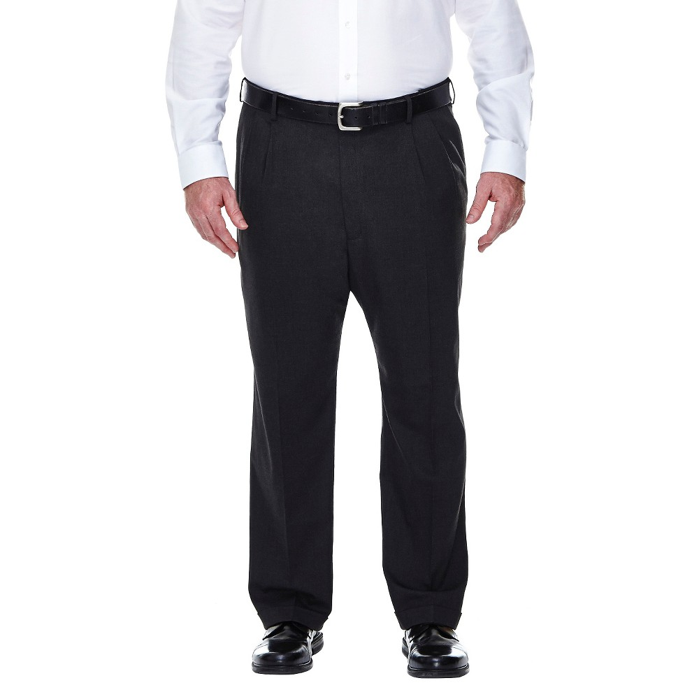 Haggar H26 - Men's Big & Tall Classic Fit Stretch Suit Pants Charcoal (Grey) 52x32
