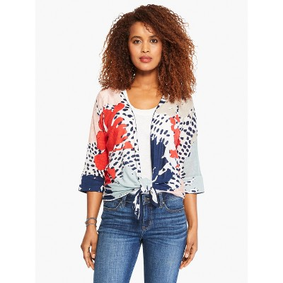 NIC+ZOE Women's Art Scene 4-Way Cardigan Red Multi