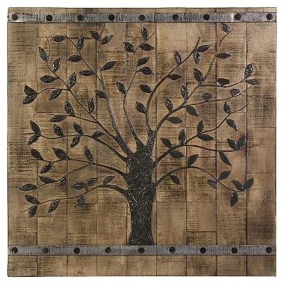 Aurora Wood Plank Tree Decorative Wall Art